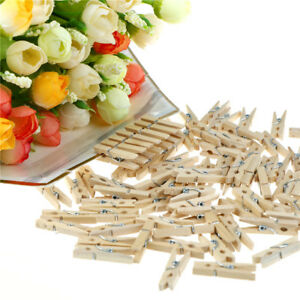 100Pcs Mini DIY Wooden Clothes Photo Paper Pegs Clothespin Cards Craft ClipsCACA