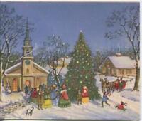 VINTAGE CHRISTMAS TREE VILLAGE CHURCH HOUSE VICTORIAN CAROLERS GREETING CARD