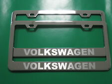 "(2) Brand New ""VOLKSWAGEN"" Stainless Steel Chrome license plate frame Tag (SB)"