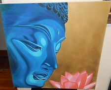 SUSAN MCCARTY HUGE ORIGINAL OIL ON CANVAS BLUE BUDDHIST & PINK FLOWER PAINTING