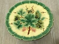French Antique Majolica Sarreguemines Plate - Green & Yellow Vine Grapevine