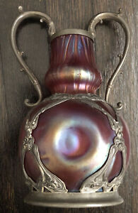 Antique LOETZ ? Purple Iridescent Pinch Design Mounted Vase Art Nouveau Beauty