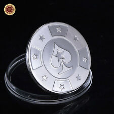 WR Coin Gift WORLD SERIES POKER Card Guard Protector Silver Plated Coin Chip