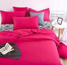 Solid Color Duvet Cover Set Quilt Cover with Pillowcase Cotton Blend Bedding Set