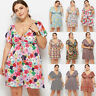 Plus Size Women Short Sleeve Wrap Boho Floral Mini Dress Summer Sundress Holiday