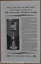 1929 EVEREADY Sunshine Lamp advertisement, National Carbon Co, arc lamp sun tan