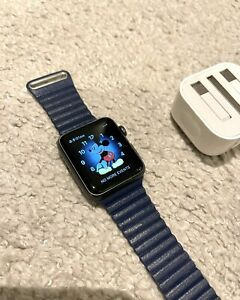 Immaculate Apple Watch Series 1 42mm Aluminium Case Black Sport - Navy Strap