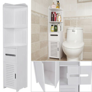 Bathroom Toilet Slim Storage Cabinet Furniture Corner Shelf Cupboard Rack Unit