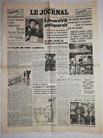 N1066 La Une Du Journal Le journal 10 décembre 1936 Édouard VIII abdiquerait