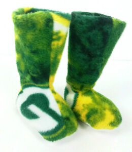 GREEN BAY PACKERS Toddler Green & Gold Soft Fleece Booties Wisconsin Football