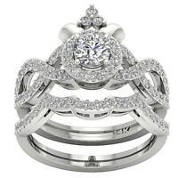 Designer Bridal Ring Set SI1 G 1.50 Ct Natural Round Diamond 14K Gold Prong Set