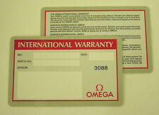 Omega Watch Open International Guarantee Warranty Card
