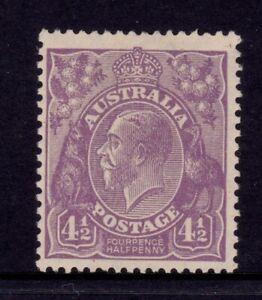 Australia KGV Head SMW P13½ - 4½d Violet MLH SG 103