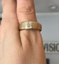 Wedding Band Ring Size 10.5 .07tcw 14k Yellow Gold Men's Diamond Ridged