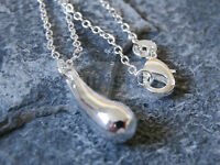 Silver Necklace and Tear Drop Pendant  925 Sterling Birthday Gift Idea WN024