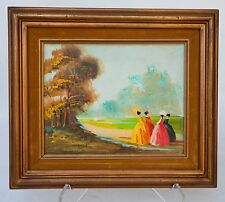 OIL ON CANVAS PAINTING FRENCH IMPRESSIONIST STYLE 4 LADYS IN PARK