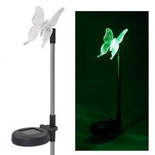 2 Stück Solar Led Farbwechsel Schmetterling Garten Pfahl Licht Rasen Dekoration