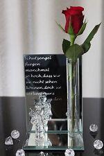 deko Engel Vase Glas Figur Spiegel Skulptur Engelchen Schutzengel Spruch 14,5cm