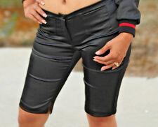 SEXY BLACK SHINY Classy TROUSER SHORTS PANTS CLUB GLAM cropped knee pant Biker