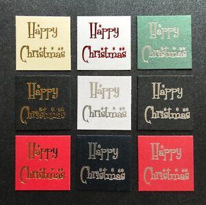 Happy Christmas die cut foil printed topper sentiment embellishment 32mm pk10