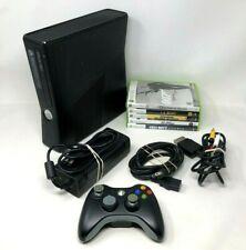 Microsoft Xbox 360 Slim Console 250GB w/ Power AV Cable & Controller + 5 Games