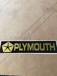 "2""X 8"" PLYMOUTH Sticker (Black & Gold VINYL) Vintage Looking"