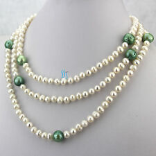 """54"""" 5-11mm White Green Freshwater Pearl Necklace Strand Jewelry"""
