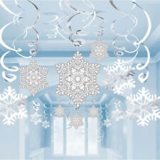 Spiral Banner Christmas Snowflake Ornaments Garland Home Party Decorations