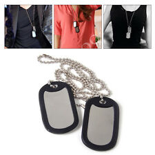2Sets Army Dog Tag Blank Pet Pendant Puppy Cat ID w/ Stainless Steel Chain
