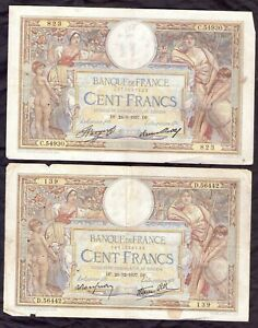 Lot de 2 Billets de Banque de FRANCE  de 100 Frs (L.O.MERSON)