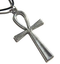 SILVER ANKH PENDANT black necklace Sandman Death Egypt ansate cross gothic B3