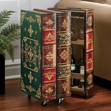 Book Wine Cabinet - 12 Wine Bottles/Stemware - 2 Shelves - Green/Red/Brown