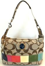COACH SIGNATURE MULTI COLOR STRIPE HOBO BAG $248 F15586