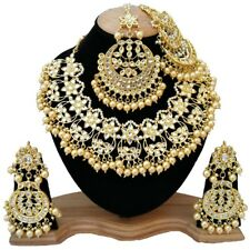 Meena Kundan Pearls Stylish Necklace Jewelry with Mang Tikka Chand Pattern Passa