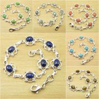 925 Silver Plated Real NAVY BLUE LAPIS LAZULI Bracelet, Choose Your Gemstone