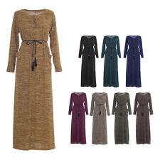 Womens Ladies Plain Long Zip Shirt Belt Jilbab Design Maxi Abaya Kaftan Dress (w