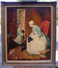 La pénal Sermon peinture huile sur toile Baroque Rococo Style signée datée