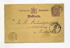 1894 Württemberg 5 PFG ga DP 24 con bel sali STAFFA timbro Schömberg