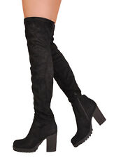 Womens Over the Knee Thigh High Cleated Sole Faux Suede Chunky Platform Boots