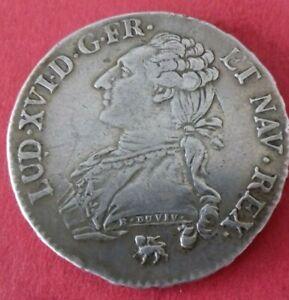 Tres Rare Demi 1/2 Ecu Buste Habillé Louis XVI 1791 .A Léopard sur héron