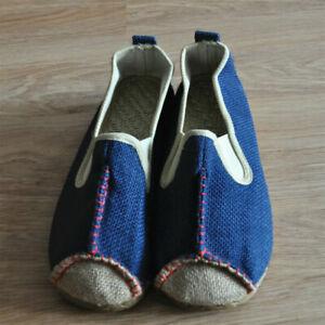 Unisex Adult Espadrille Linen Flat Shoes Slip on Canvas Pump Woven Kung Fu Linen