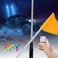 2PCS 5ft Lighted Antenna RGB LED Whip Light Flag for ATV UTV Polaris RZR 4 Wheel