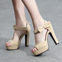 Women Platform Bowtie Block Strap High Heels Ankle Open Toe Chunky Sandals Shoes