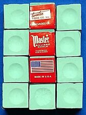 Pool Cue ~Tip Chalk ~ MASTER ~ color:  GREEN ~ 12 pieces