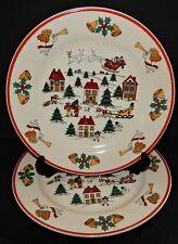 2 Jamestown Joy of Christmas Dinner Plates 1987 Action Ind Old Winter Village