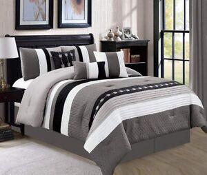 Gray Grey Black White Arrows Striped 7 pc Comforter Set Queen Cal King Bedding
