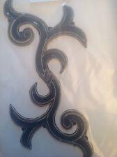 Motivo de bordado de apliques de lentejuelas Celta Negro Baile Irlandés Disfraz Grande