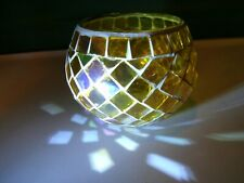 Yellow Mosaic Candle Holder Nice Lighting Accent Decoration Collectible