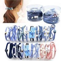 12pcs Woman Girls Hair Bands Pearl Decor Stretch Hair Ties Ponytail Rope LrJNE