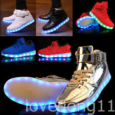 Unisex LED Shoes Lace Up Sportswear Sneakers Luminous Casual Lovers Shoes KIDS